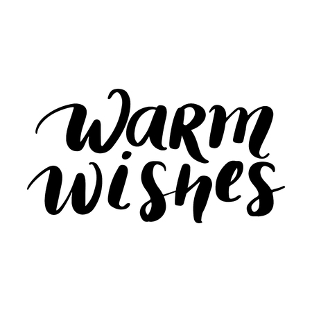 Warm Wishes - Vector hand drawn lettering phrases. Merry Christmas and Happy New Year 2019. Holidays quotes for photo overlays, greeting cards, posters.