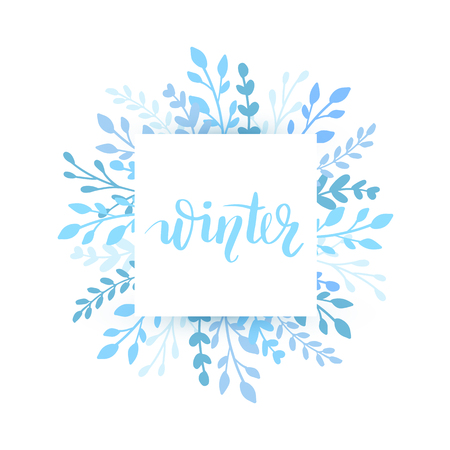 Merry Christmas and Happy New Year vector card. Holidays round frame with leaves and branches. Winter drawn lettering phrase for holidays design, greeting cards, posters on white background.