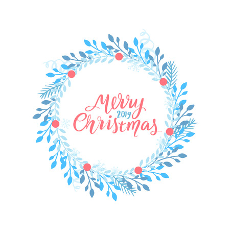 Merry Christmas and Happy New Year vector card. Holidays frame with leaves and branches. Jingle all the way - hand drawn lettering phrase for holidays design, greeting cards, posters.