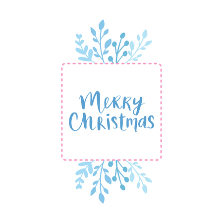 Merry Christmas and Happy New Year vector card. Frame, border with leaves and branches. Greeting cards. Hand drawn lettering phrase for holidays design, posters. Illustration Eps10.