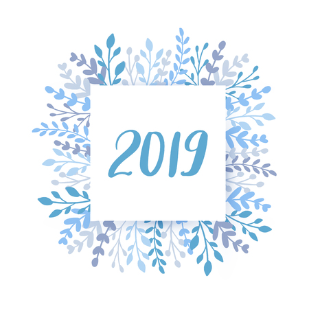 Merry Christmas and Happy New Year 2019 vector card. Holidays round frame with leaves and branches. Hand drawn lettering phrase for holidays design, greeting cards, posters on white background.