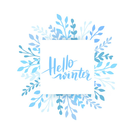 Merry Christmas and Happy New Year vector card. Holidays round frame with leaves and branches. Hello winter Hand drawn lettering phrase for holidays design, greeting card, posters on white background.