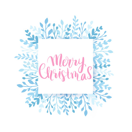 Merry Christmas and Happy New Year vector card. Frame, border with leaves and branches. Greeting cards. Hand drawn lettering phrase for holidays design, posters, postcards on white background. 일러스트