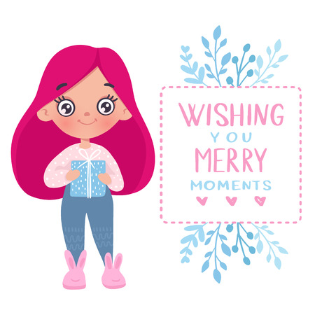 Vector cute little girl with gift box. Cute character. Cartoon illustration. Merry christmas design. Holidays greeting card. Merry and Bright.