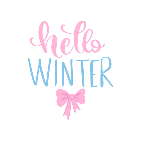 Hello Winter - Vector hand drawn lettering phrases. Merry Christmas and Happy New Year 2019 card. Holidays quotes for photo overlays, greeting cards, posters.