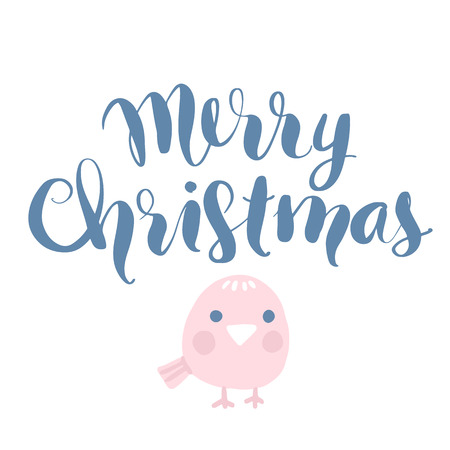 Merry Christmas and Happy New Year vector card with cute bird. Hand drawn lettering phrase. Holidays quotes for photo overlays, greeting cards, posters.