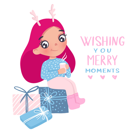 Merry Christmas and Happy New Year 2019 vector card. Cute little girl. Cartoon kids illustration. Holidays design. Young teen, baby girl. Best wishes