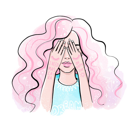 Cute vector girl. Dreaming portrait. Girl close her eyes buy her hands, bright colors. I need mascara. Beautiful illustration. Pink hair. Ilustração