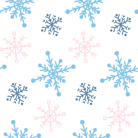 Vector seamless paattern with snowlakes. Hand drawn winter background.