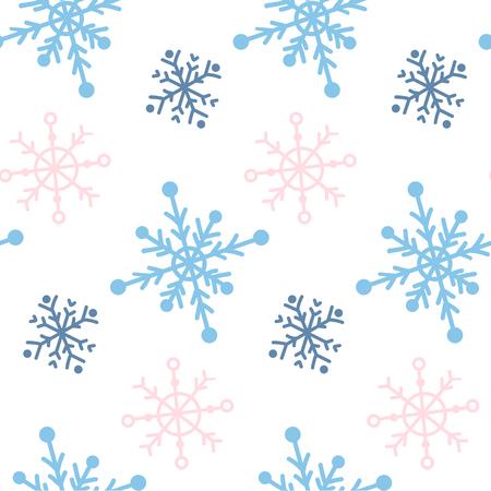 Vektor nahtloses Muster mit Snowlakes. Handgezeichneter Winterhintergrund.