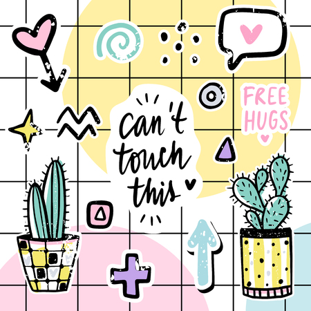 Vector set with cactuses, positive phrases, elements. Cute vector cactus. Hand drawn Bright stickers collection. Trendy patches, pins, badges. Prickly green houseplant. Doodle style.