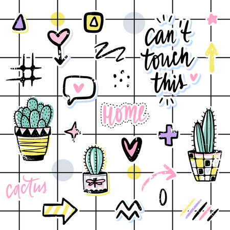 Vector set with cactuses, positive phrases, elements. Cute vector cactus. Hand drawn Bright stickers collection. Trendy patches, pins, badges. Prickly green houseplant. Doodle style. Illustration