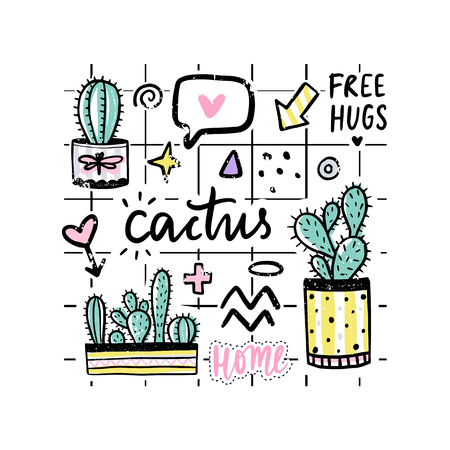 Vector set with cactuses, positive phrases, elements. Cute vector cactus. Hand drawn Bright stickers collection. Trendy patches, pins, badges. Prickly green houseplant. Doodle style. Vektorové ilustrace