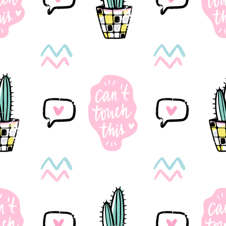Vector hand drawn seamless pattern with cute cactus and abstract elements. Stylish background with desert plants. Trendy vector design. Bright repeated texture with green cacti.