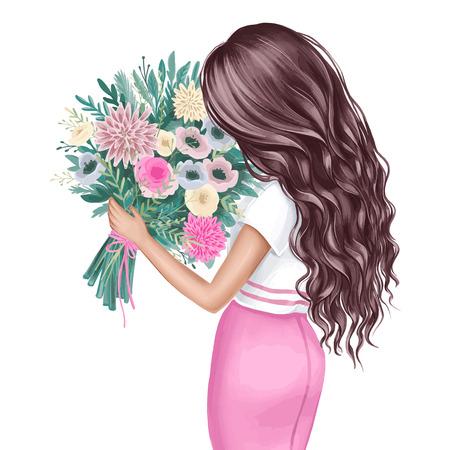 Preciosa morena con un ramo de flores. Retrato de vista posterior de linda chica con cabello rizado y oscuro. Ilustración de moda. Mujer joven huele flores. Dama elegante. Peinado ondulado.