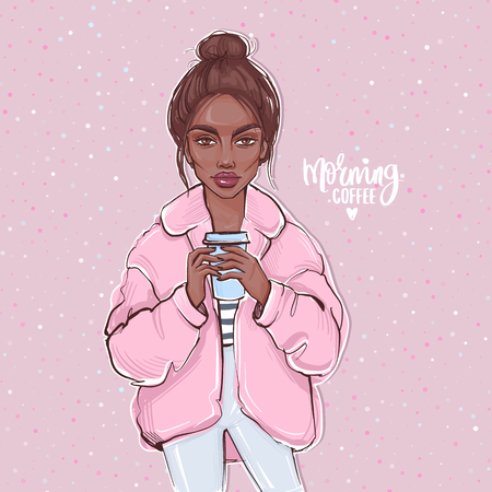 Vector fashion girl with dark skin. Hand drawn cute girl with cup of coffee in her hands. Beautiful young woman in a coat. Autumn look. Street fashion. Stock Illustratie