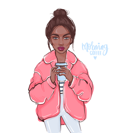 Vector fashion girl with bun hairstyle. Hand drawn cute girl with cup of coffee in her hands. Beautiful young woman in a coat. Autumn look. Street fashion style
