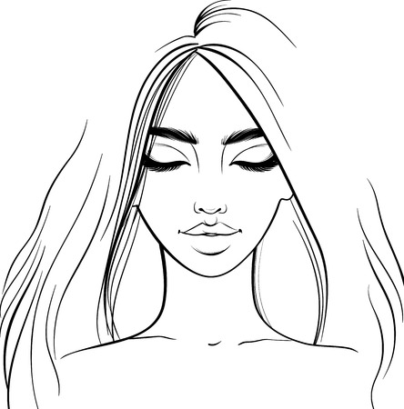 Beautiful girl portrait. Vector woman with closed eyes. Sketch style. Fashion illustration. Outline drawing. Line art. Banque d'images - 124803139