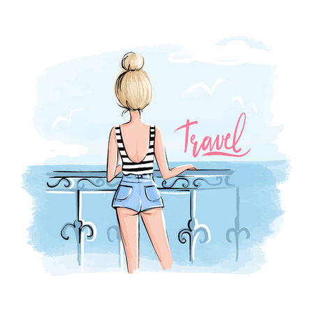 Beautiful girl stands with his back and looks at the sea. Vector fashion illustration. Summer design with a young woman on vacation. Travel art. Hand drawn poster.