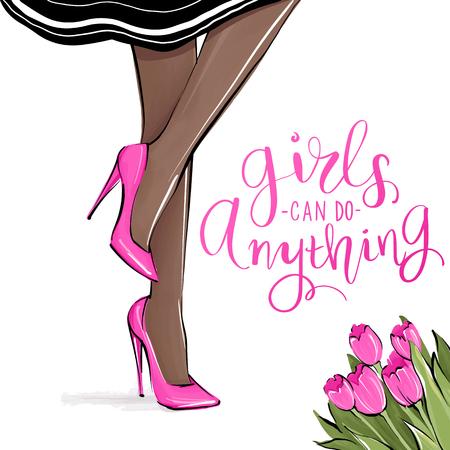 Chica de vector en tacones altos. Ilustración de moda. Piernas femeninas en zapatos. Piel oscura. Lindo diseño femenino. Cuadro de moda en estilo de moda. Mujer de moda. Dama elegante. Cita de chicas.