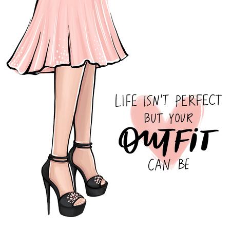Chica de vector en tacones altos. Ilustración de moda. Piernas femeninas en zapatos. Lindo diseño femenino. Arte de moda en estilo vogue. Mujer de moda. Dama elegante. Cita sobre atuendo.
