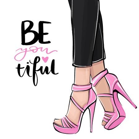 Chica de vector en tacones altos. Ilustración de moda. Piernas femeninas en zapatos. Lindo diseño femenino. Arte de moda en estilo vogue. Mujer de moda. Dama elegante. Letras hermosas.