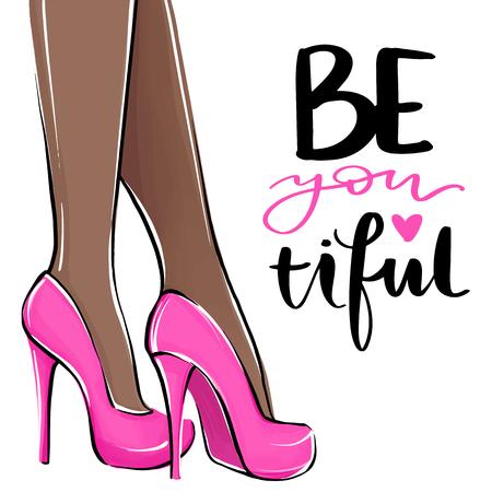 Chica de vector en tacones altos. Ilustración de moda. Piernas femeninas en zapatos rosas. Piel oscura. Lindo diseño femenino. Cuadro de moda en estilo de moda. Mujer de moda. Dama elegante.