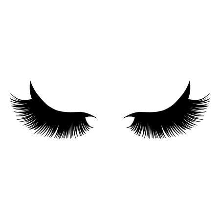 Illustration vectorielle de longs cils noirs. Beaux cils isolés sur un fond.