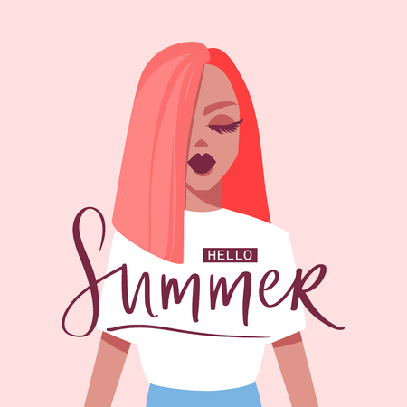 Hello summer. Vector illustration with beautiful girl. Flat style. Fashion portrait of a model. Minimalism. Young woman.