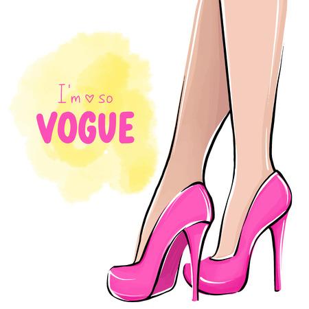 Chica de vector en tacones altos. Ilustración de moda. Piernas femeninas en zapatos rosas. Lindo diseño femenino. Cuadro de moda en estilo de moda. Mujer de moda. Dama elegante. Estoy tan de moda cita escrita a mano.
