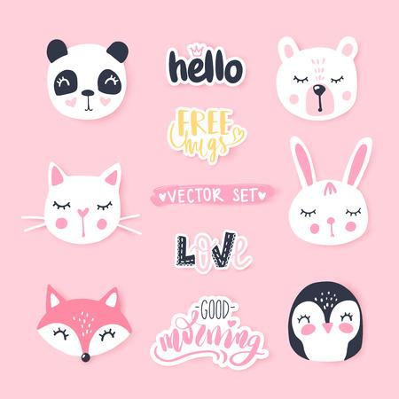 Vector set with cute cartoon animals - bear, panda, bunny, penguin, cat, fox.