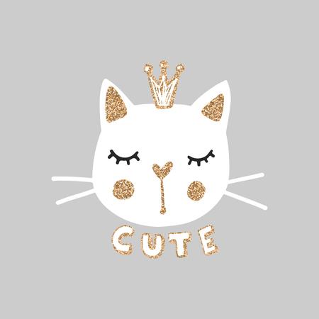 Cute princess cat vector illustration. Girly kittens. Fashion Cat's face. Cartoon animal. Golden Glitter Kitty. Funny character. Ilustração