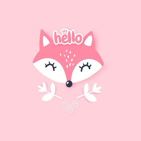 Cute little fox. Vector animal illustration. Hand drawn cartoon fox. It can be used for baby t-shirt design, fashion print, cards, design element for children's clothes. Standard-Bild - 123508380