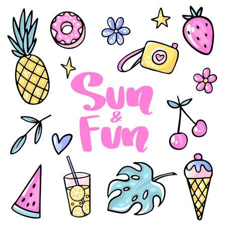 Sun and Fun. Pineapple, strawberry, cherry, ice cream, watermelon, tropical leaf, lemonade, flower, donut. Illustration