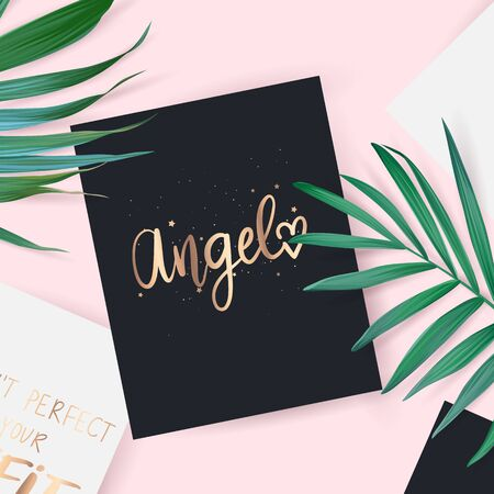 Top view with card. Angel - Vector hand drawn lettering phrase.