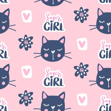 Vector fashion cat seamless pattern. Cute kitten illustration in sketch style. 矢量图像