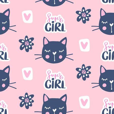 Vector fashion cat seamless pattern. Cute kitten illustration in sketch style. 向量圖像