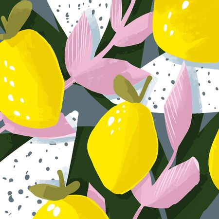 Cute vector card with floral and fruit design. Lemon and leaves. Abstract design. Illustration