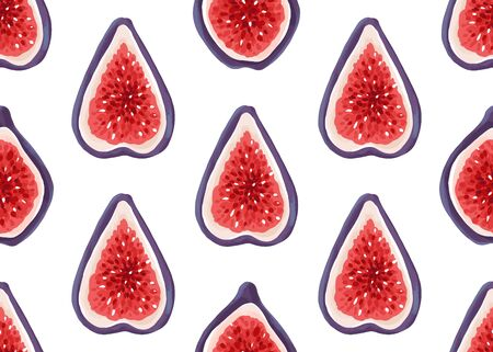 Vector seamless pattern with fresh figs. Exotic fruits hand drawn background. Illustration of sliced ripe fig. Tropical vegetarian food design element isolated on white.