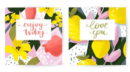 Cute vector cards with floral and fruit design. Flowers and leaves. Summer illustrations. Posters on modern style.