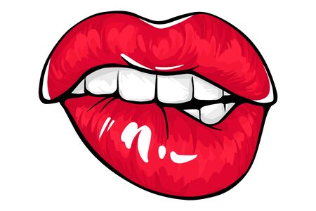 Sexy lips, bite ones lip. Lips Biting. Female lips with fuchsia lipstick. Illustration