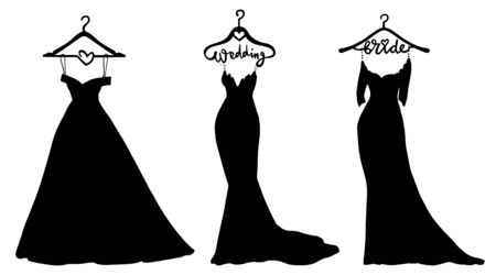 Vector Wedding dresses in Different styles. Beautiful Bride clothing for wedding day on a hanger. Illustration