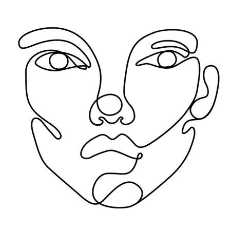 Continuous line vector drawing. Abstract line art portrait. One line illustration. Ilustração
