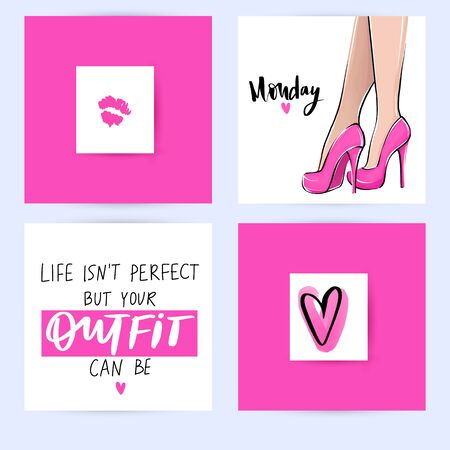 Set with fashion cards with inspiration quote about girls, shoes, fashion, high heels, shopping. Ilustração