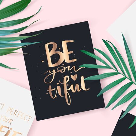 Vector hand drawn lettering phrase. Motivation and inspiration gold quote.