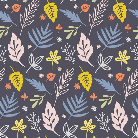 Vector seamless pattern with flowers and plants.  イラスト・ベクター素材