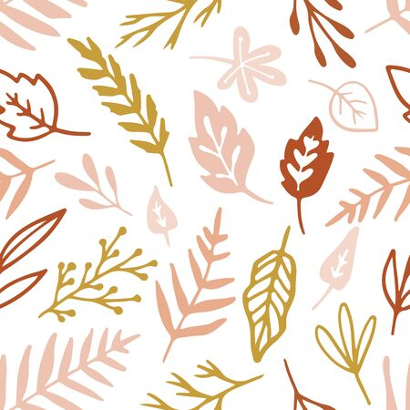 Vector seamless pattern with flowers and plants. Floral ornament. Original leaves texture. Autumn Leaf background. Hand drawn textile design.