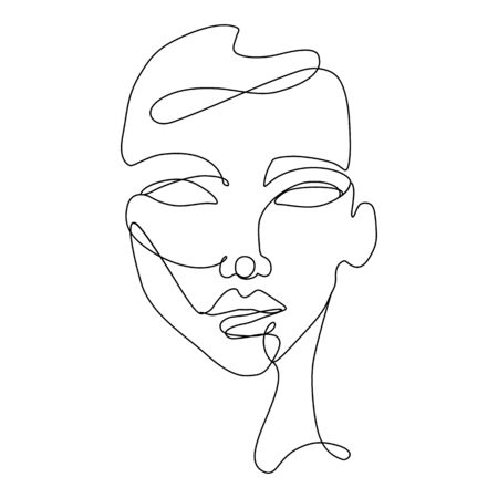 Continuous line vector drawing. Face silhouette. Abstract portrait.