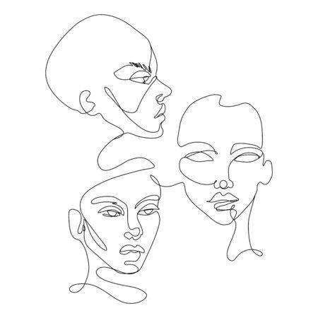 Dibujo vectorial de línea continua. Conjunto de siluetas de caras. Retrato abstracto.