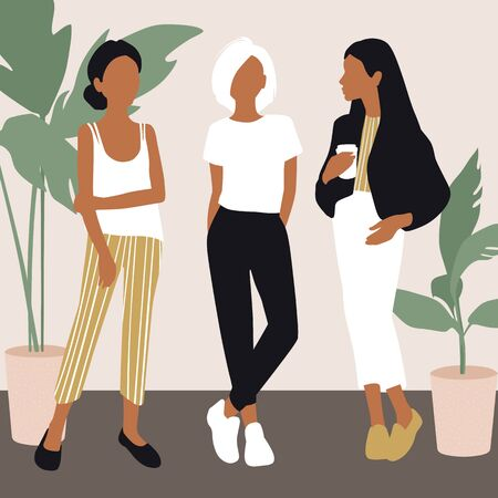 Vector young women dressed in trendy clothes standing in the room. Illustration